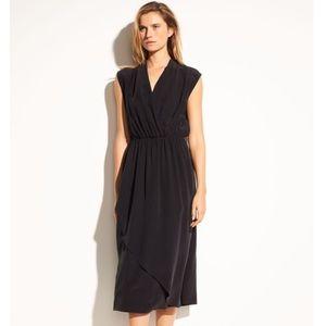 Vince Silk Draped Wrap Midi Dress w Twist Back